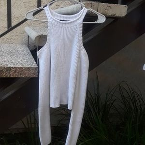 White holter crop top